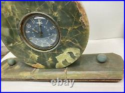 Antique Seth Thomas Green Onyx Marble Mantle Desk Clock Electric Works