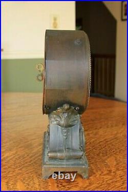 Antique Seth Thomas Long Alarm Model Roman Numeral Mantel Clock Thomaston CT