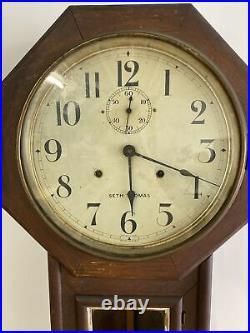 Antique Seth Thomas Long Drop Regulator Wall Clock All Original with Key