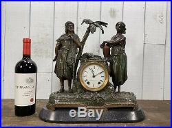 Antique Seth Thomas Mantel Clock Rebecca at the Well c1870 Painted Spelter