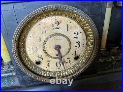 Antique Seth Thomas Mantle Clock Bakelite Pillar Lion Head Black Adamantine Vtg