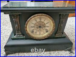 Antique Seth Thomas Mantle Clock Lion Adamantine 1880 Missing key Ticks