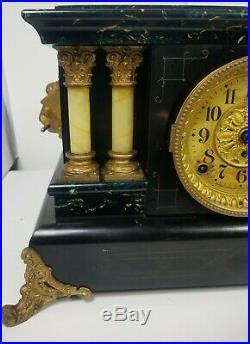 Antique Seth Thomas Mantle Clock Pendulum Green Black Adamantine Lions Heads