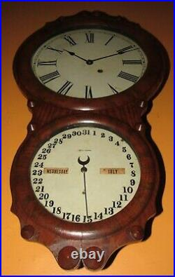 Antique Seth Thomas No. 4 Double Dial Calendar Wall Clock 8-day