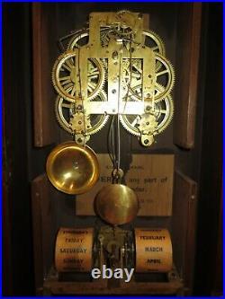 Antique Seth Thomas Parlor No. 3 Double Dial Calendar Clock 8-day, Time/strike