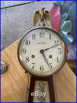 Antique Seth Thomas Pendulum Banjo Wall Clock with Key US Navy Ship Battle Eagle