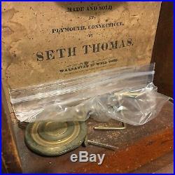 Antique Seth Thomas Pillar & Scroll c 1825 Mantel Clock Original Glass