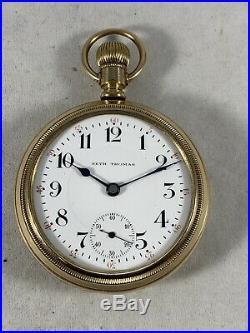 Antique Seth Thomas Pocket Watch Running Lever Set Railroad Gold Filled RUNNING