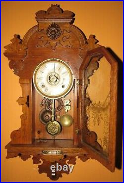 Antique Seth Thomas Queen Beei Hanging Kitchen Wall Clock With Alarm 8-day