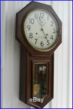 Antique Seth Thomas Regulator Wall Clock With Second Hand Train Station Clock