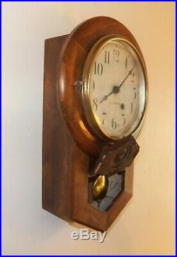 Antique Seth Thomas School House Wall Clock Circa 1924 Nice Oak Case