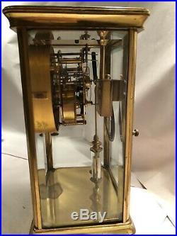 Antique Waterbury Crystal Regulator Mantel Clock With Open Escapement