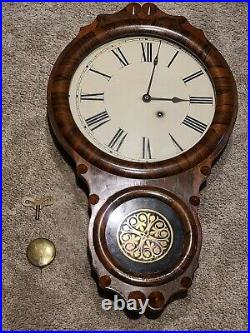 Antique Working 1875 SETH THOMAS Office No. 1 Victorian Regulator Wall Clock