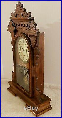 Antique Working 1892 SETH THOMAS Tacoma City Series Walnut Parlor Mantel Clock