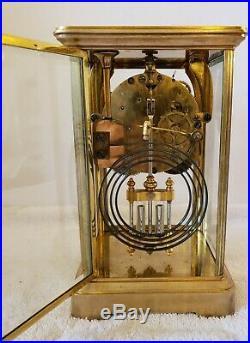 Antique Working 1906 SETH THOMAS Brass & Beveled Glass Crystal Regulator Clock