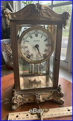 Antique Working SETH THOMAS Brass & Beveled Glass Crystal Regulator Clock