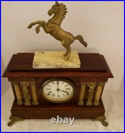 Antique Working SETH THOMAS Figural Horse Statue Adamantine Mantel Shelf Clock