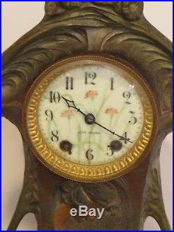 Art Nouveau Seth Thomas Clock Polychrome Bronze Case Excellent Working Condition