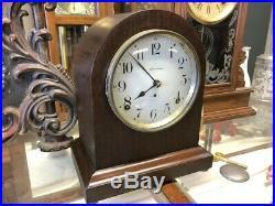 Beautiful Antique 1922 Seth Thomas Mahogany Wood Beehive Mantle Chime Wall Clock