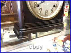 Beautiful Old Antique Ingraham Cornell Mahogany Wood Mantle Parlor Chime Clock