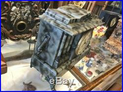 Beautiful Rare Antique Ingraham All Original Old Chime Mantle Parlor Clock-camo