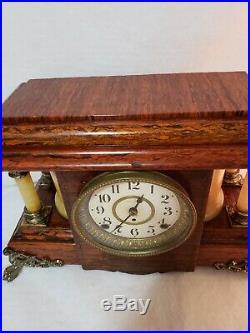 Beautiful Seth Thomas Antique Adamatine Mantel Clock Works & Chimes Well