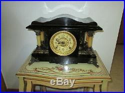 Fully & Properly Restored Rare Seth Thomas Black Adamantine Mantel Clock