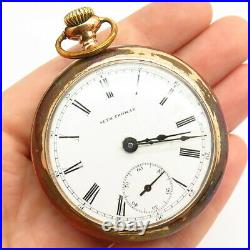 Gold Plated Antique Seth Thomas Roman Dial Pocket Watch