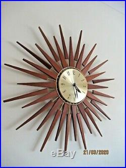 HUGE VINTAGE SETH THOMAS TEAK SUNBURST / STARBURST WALL CLOCK RETRO 1960s /1970s