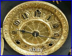 ORNATE Antique Seth Thomas Black Mantel Clock