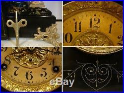 Professionally Restored Antique Seth Thomas Black Mantel Clock Shasta model Runs