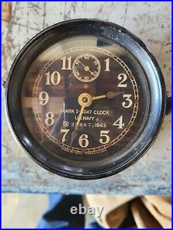 RARE Vintage Mark I US Navy 1943 Ship's Boat Clock Wind Up Seth Thomas WWII
