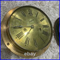 Rare 10.5inch ANTIQUE Jas P MARSH BRASS Ship Clock Made in 1891