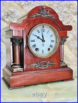 Rare Antique USA Seth Thomas Strikes Keywound Clock W Pendulum, Mahogany Case