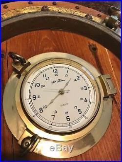 Rare Brass Porthole Vintage Seth Thomas Nautical Clock Runs Maritime Ship 22
