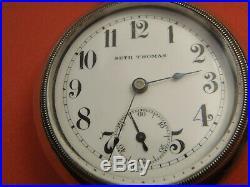Rare Seth Thomas No 260 18S 21J Adj 6 Pos Railroad Pocket Watch Train on Case