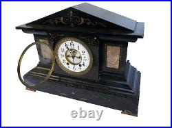 Rare Seth Thomas Solid Marble Antique Time and Strike Mantle Clock 1860s 1870s