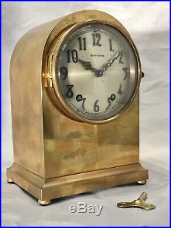 Rare Vintage Antique USA Seth Thomas Strikes Keywound Brass Clock W Pendulum