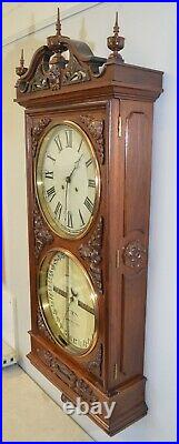 Restored Ithaca Regulator Number 1 -1885 Antique Clock In Walnut & Burl