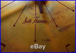 SETH THOMAS MODERNIST VINT SUNBURST WALL CLOCK, WithBRASS FACE/WALNUT SPOKED ARMS