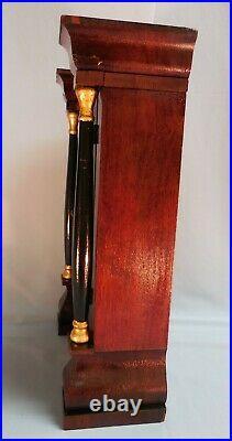 SETH THOMAS Miniature Column & Cornice Mahogany MANTEL/SHELF CLOCK