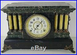 SETH THOMAS ORNATE MANTLE CLOCK 1880's LION'S HEADS WithKEY ANTIQUE