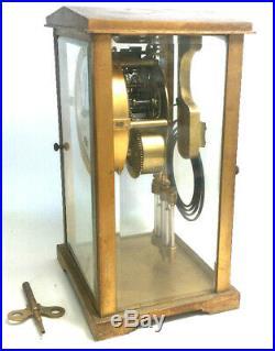 SETH THOMAS Old CRYSTAL REGULATOR Brass Glass MANTEL CLOCK withKey