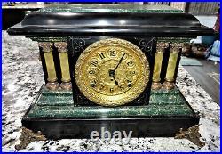 Seth Thomas Adamantine Mantel Clock 8 day Imperial Green Lion Head Antique