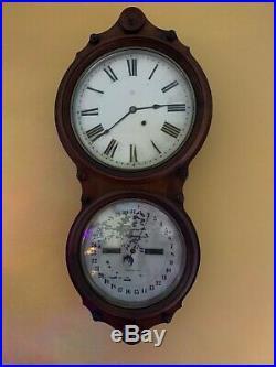 Seth Thomas Antique Double Dial Calendar Wall Clock 1876