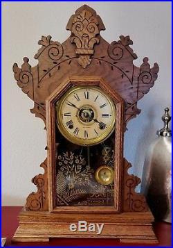 Seth Thomas Antique Mantle Clock Oak Ornate Shelf 23 withWritten Doc Works L-1
