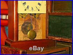 Seth Thomas Antique Steeple Shelf Mantle Clock Key Pendulum Mahogany Case 8 Day