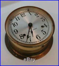 Seth Thomas Corsair Ship's Bells Clock, Solid Brass No Key