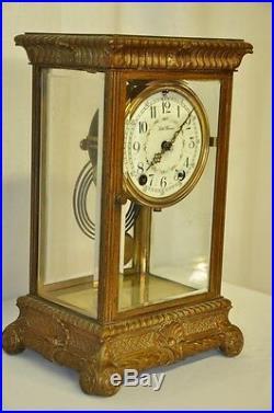 Seth Thomas Crystal Regulator, Bronze Frame, Painted Porcelain Dial