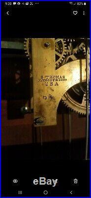 Seth Thomas Double Dial Calendar Estate 1876 Clock, Antique 8 day
